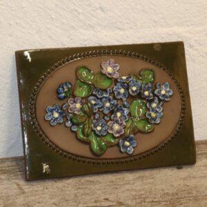 27 Keramik billede JIE svensk blå blomster 28,5x21 cm