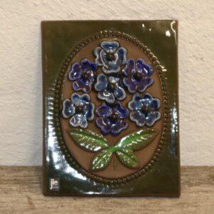 29 Keramik billede JIE svensk blå blomser 23x18 cm