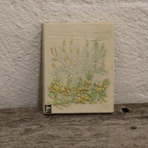 37 Keramik billede hvide gule blomster 13,5x17 cm