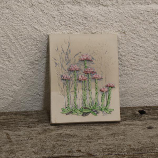 38 Keramik billede hvide lilla blomster 14,5x17 cm