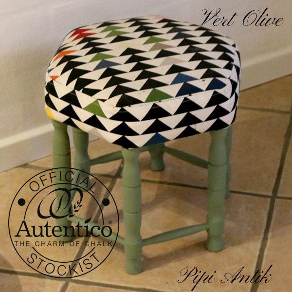 Vert Olive Autentico retro skammel farverig betræk Ø48x35,5 cm