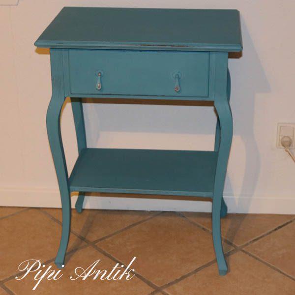 Mintblå bord med skuffe og underhylde 55x38x73