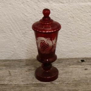 Rød bohemean beholder i glas Ø8x24 cm H