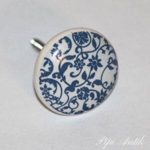 Keramikknop blåt og råhvidt Ø4 cm