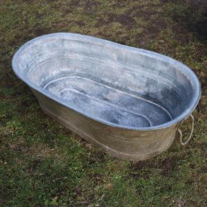 04 Aflang mini zink badekar med patina 82x44x24 cm