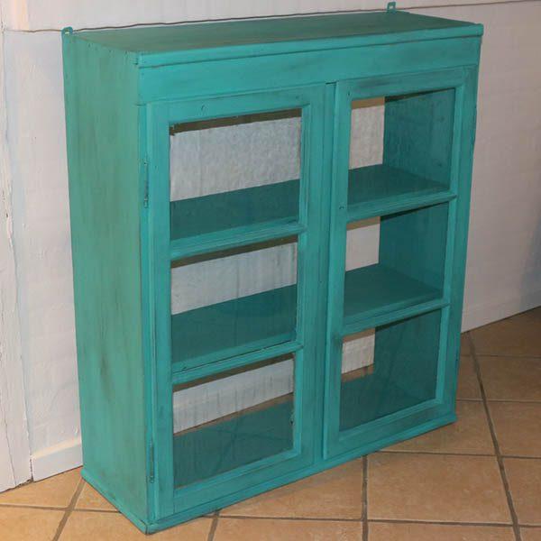 Tyrkisgrønt køkkenskab B94xD32xH106 cm vitrineskab irgrønt