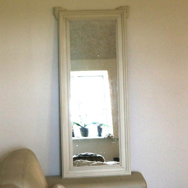 Hvidt facetslebet spejl Old White 49x110x3,5 cm