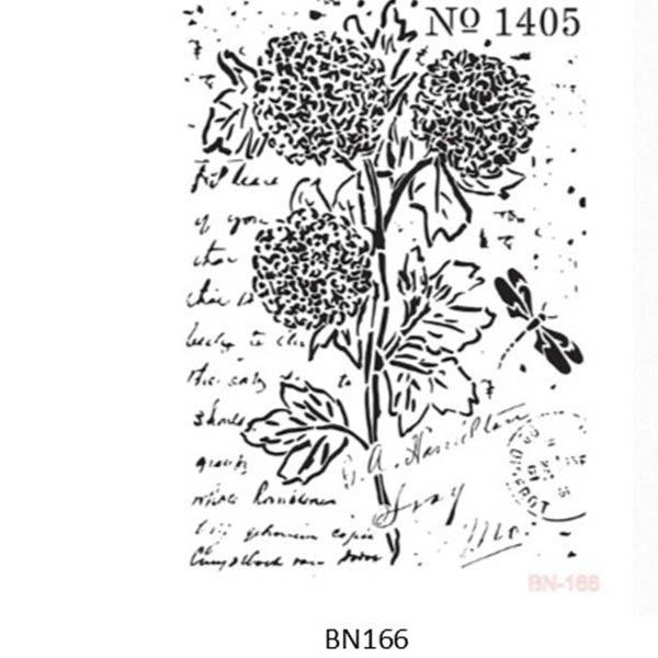 Stencil BN-166 25x35 cm Blomst 1405