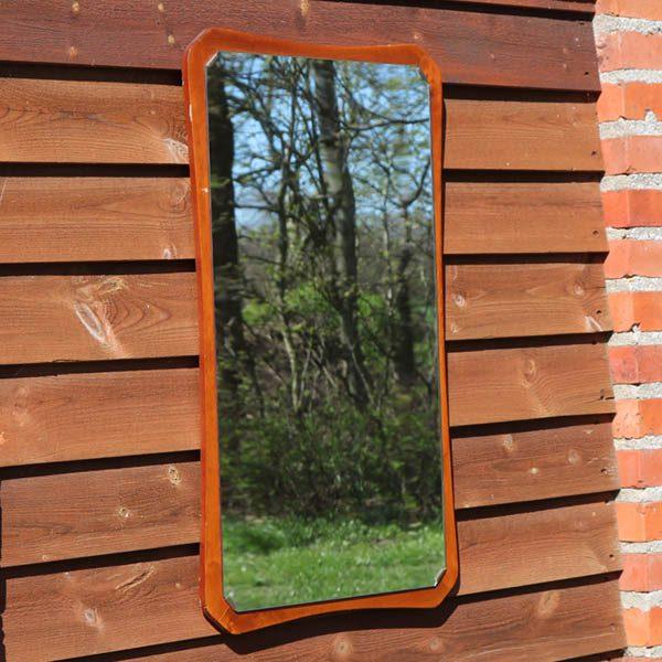 Teaklook spejl 60x41x1 cm