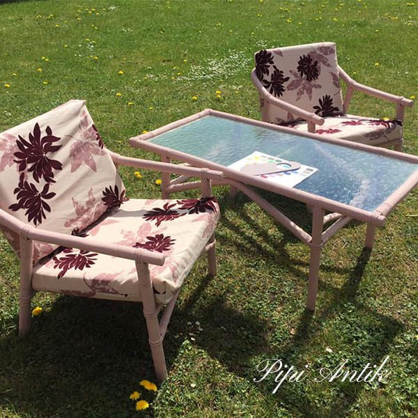 Rosa bambus havebordsæt sofabord og 2 stole