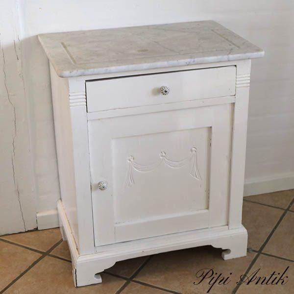 Sengebord med marmorplade 62x42x74 cm