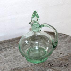 02 Grøn glas karaffel mini Ø11x18 cm