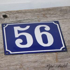 04 Husskilt 56 blå hvid 16x12 cm