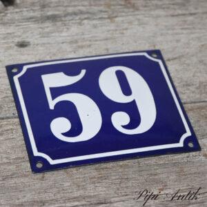04 Husskilt 59 blå hvid 14x12 cm
