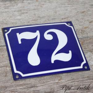 04 Emalje husskilt 72 blå hvid 13,5x12 cm