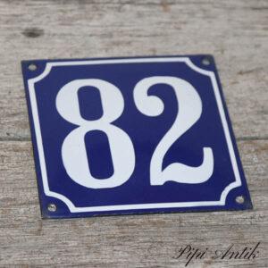 04 Emalje husskilt 82 blå hvid 12 x 12 cm