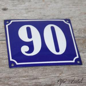 04 Emalje husskilt 90 blå hvid 14x12 cm
