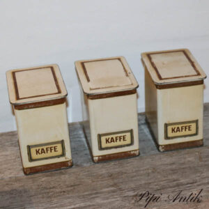 Kaffedåse beige brun 10x14x15 cm
