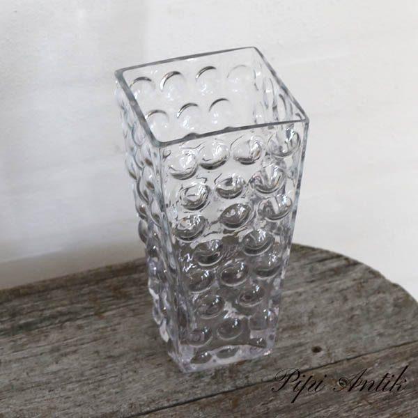 Retrolook glasvase nyere 10x10x20 cm