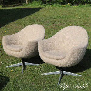 Retro lænestol i stof og alustel 74x60x73 siddehøjde 42 cm