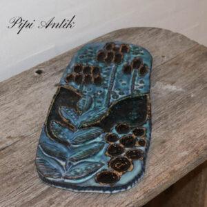 Keramik billede blålig tyrkisagtigt 38x18x2 cm