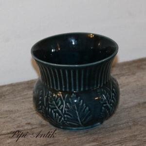 Keramik vase mørk tyrkisblå NN Ø13x12 cm