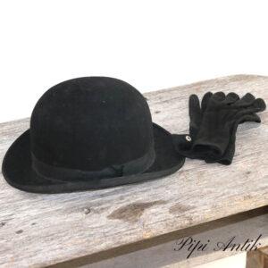 Bowlerhat Bobby hat sort med handsker ca str 57