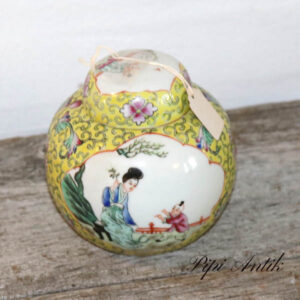Østen tebeholder i porcelæn gulligt med låg Ø11x10 cm