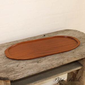 02 Kraftig oval teak bakke 56x22x1,5 cm