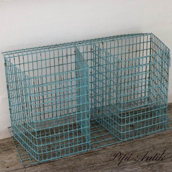 Minkbur metalhylder mintblå L46xD21xH27 cm