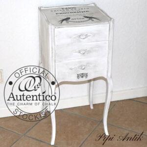 Entrekommode hvid med sort voks Autentico Casa Blanca32,5x32x71 cm H