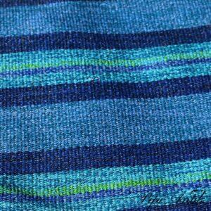 Kluddetæppe siv i blålige farver og mintgrøn 66x356 cm