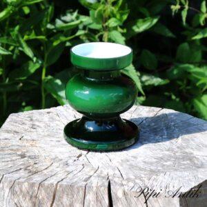 Glasvase grøn retro hvid inde i brugsmærker i kanten Ø10x12,5 cm