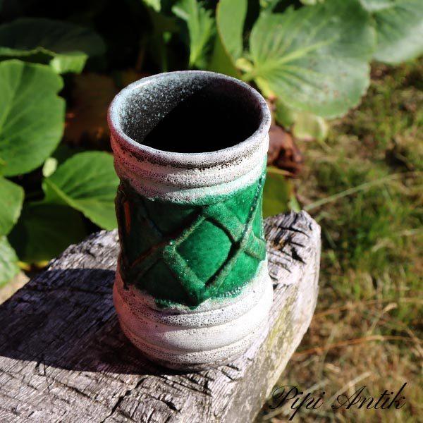 Keramikvase Import grøn hvid Ø8,5x15 cm