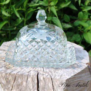 Osteklokke i glas 22x17x18 cm