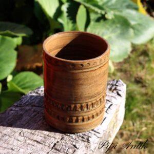 Keramikvase retro brun Ø9x12 cm
