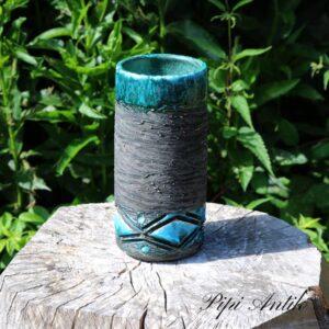 Tyrkis keramikvase Tiigmoust 622 Ø10x20 cm