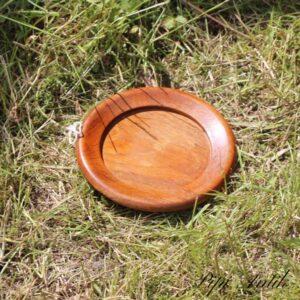 Teak træ lakeret vinbordskåner Ø13x1 cm