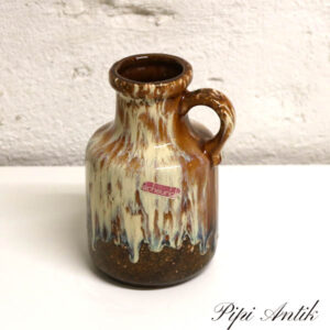 West Germany Vase Scheurich med hank buttet Ø9x17 cm