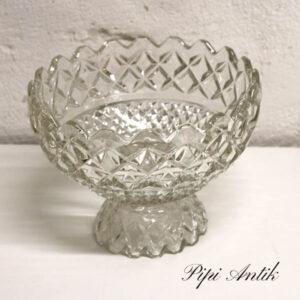 Presset glasskål med fod Ø23x18 cm