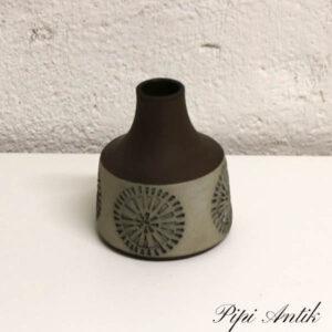 Keramikvase brun delvis glasseret Ø8,5x10 cm