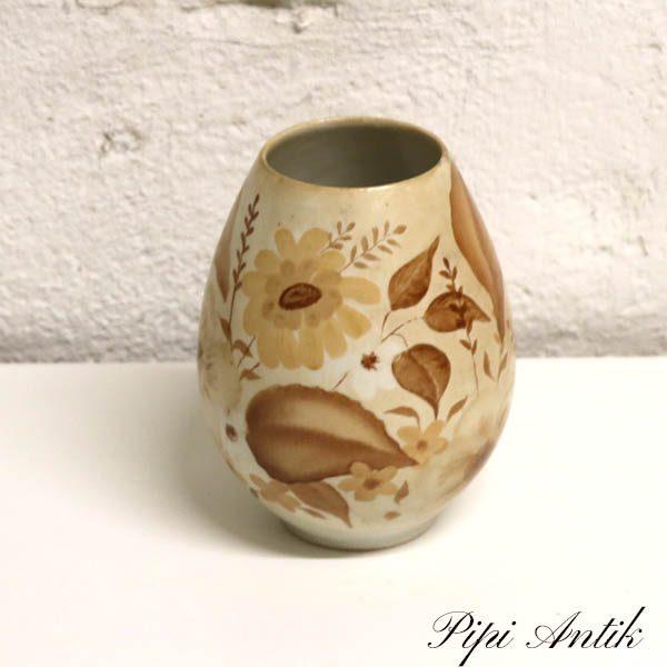 Beige keramikvase plantemotiv Ø5,5x14,5 cm