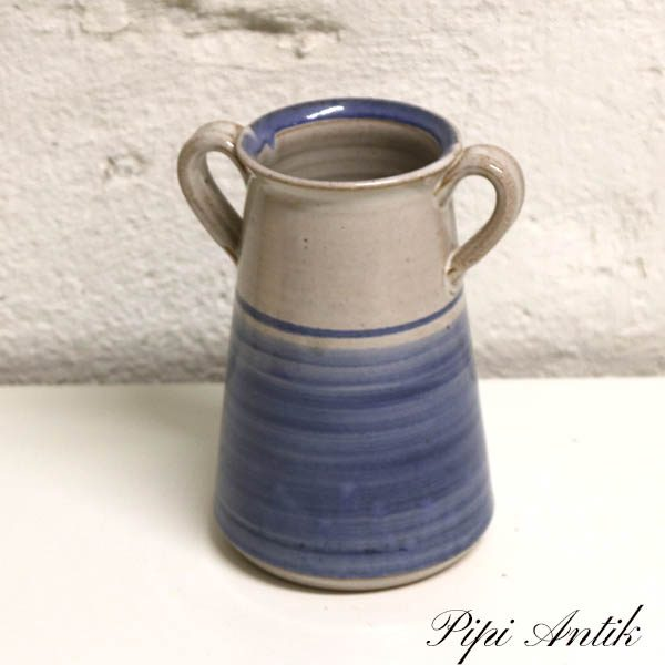 Blå hankevase keramik Ø9x15 cm