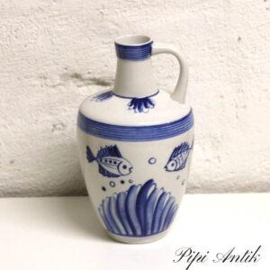 USSR blå hvid hankevase Ø7x15 cm