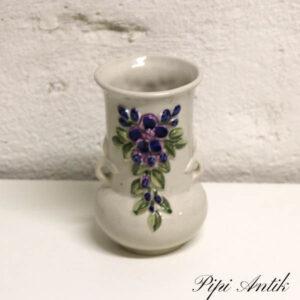 Beige lille blomstret keramikvase Ø5,5x15 cm