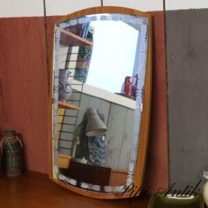 19 Teak træ spejl med mønster på spejl retro 63x42x2 cm