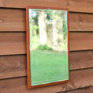 02 teakspejl med mønster på spejlet lige linjer 39x26 cm