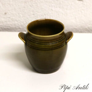 Gefle olivenfarvet retro krukke Ø6x10 cm