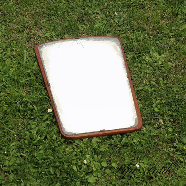 Teak spejl med kantpatina ppå spejlet 47x29 cm