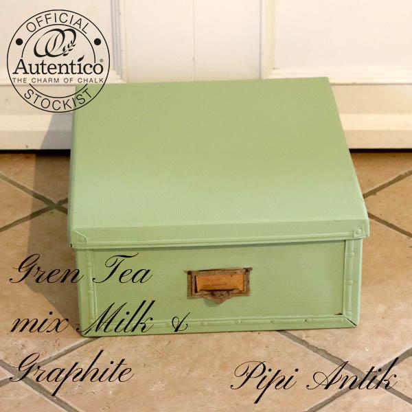 Green Tea mix documentkasse retro i pap 46x41x19 cm nymalet